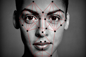 Woman face showing face recognition neural points